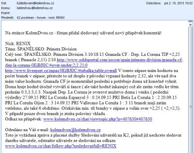 Sledování uživatelů/tipů K2 2